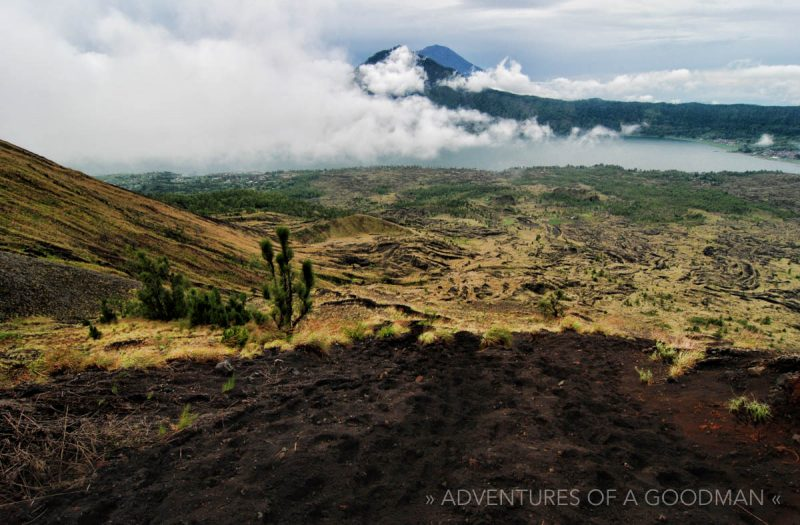 Fields of dried lava can be seen across Mt Batur in Bali, Indonesia