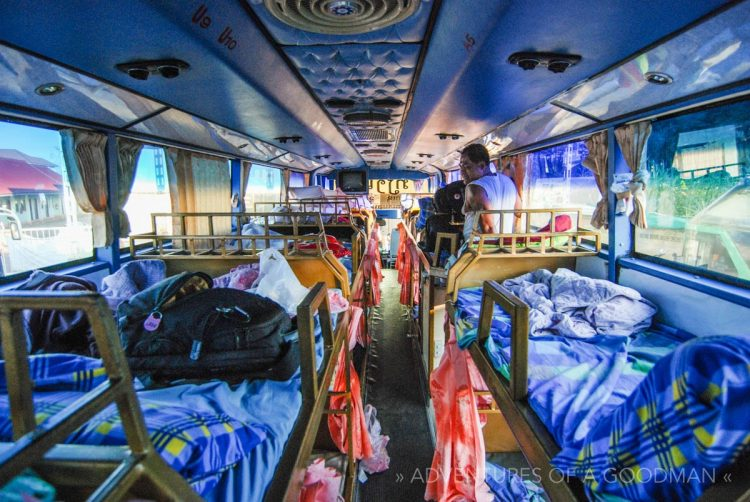 Inside a sleeper bus in Laos