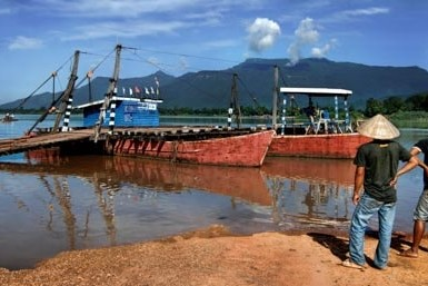 A ferry at the Champasak dock, Laos