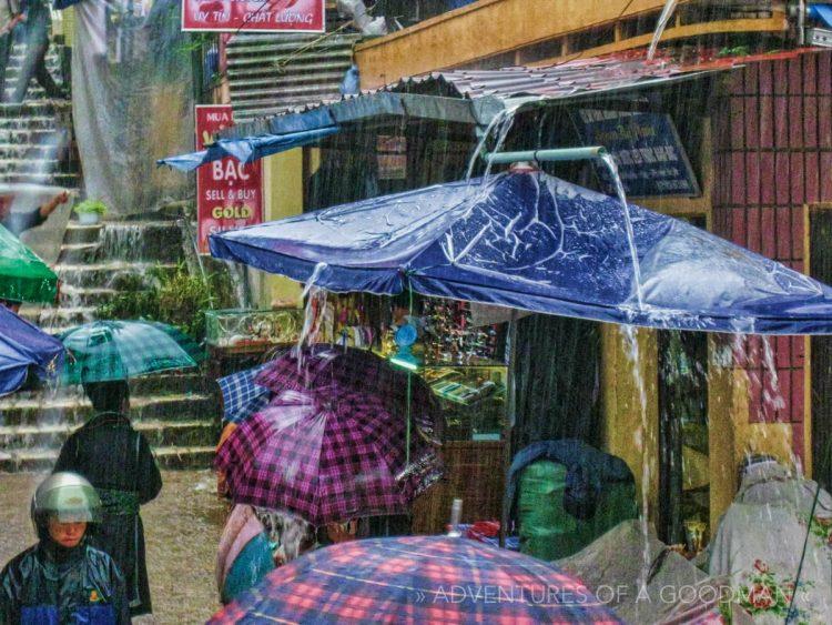 Monsoon rains rip through the Sapa market in Northern Vietnam