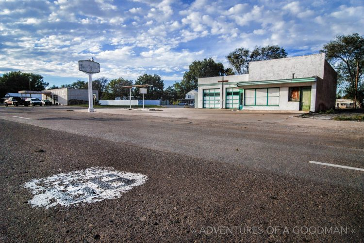 An abandoned gas station alongside Route 66 in Erick, Oklahoma