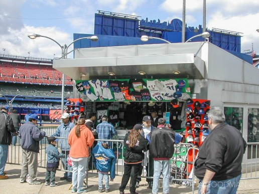 After leaving the subway station, you could stop at this souvenir stall to stock up on Mets gear