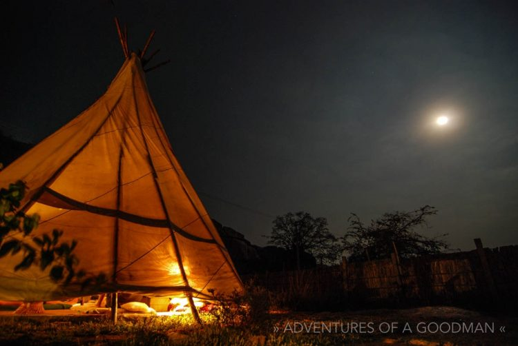 The teepee at Arba Mistika in Hampi, India