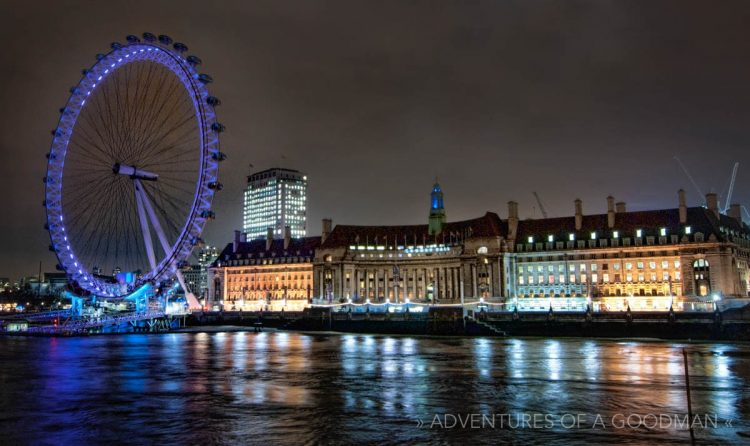 The London Eye ferris wheel, located alongside the River Thames