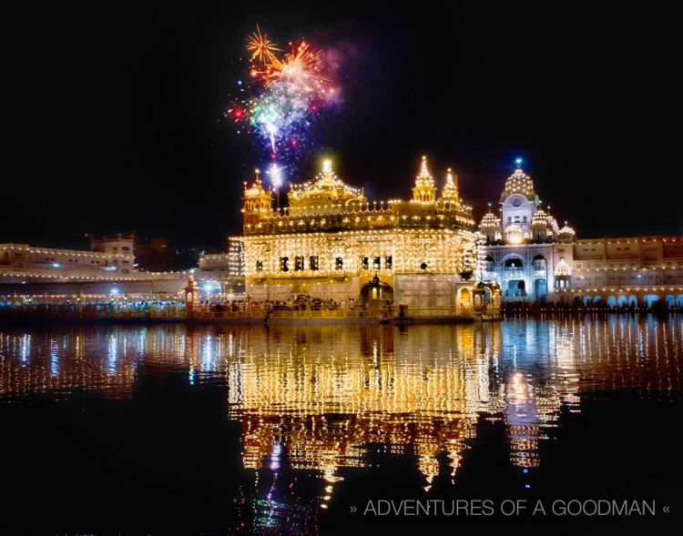 Fireworks over the Golden Temple in celebration of Guru #9's birthday