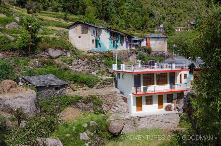 Guesthouses are built into the hillside in Bhagsu, India