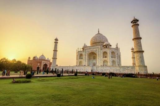 Scores of tourists enjoy the Taj Mahal in Agra, India