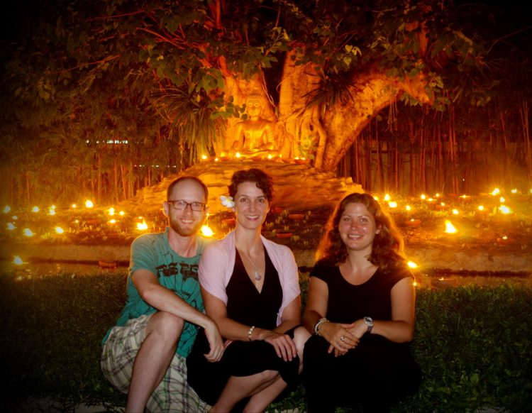 Greg, Carrie and Caroline at Wat Pan Tao - Asanha Bucha Day - August 2, 2012