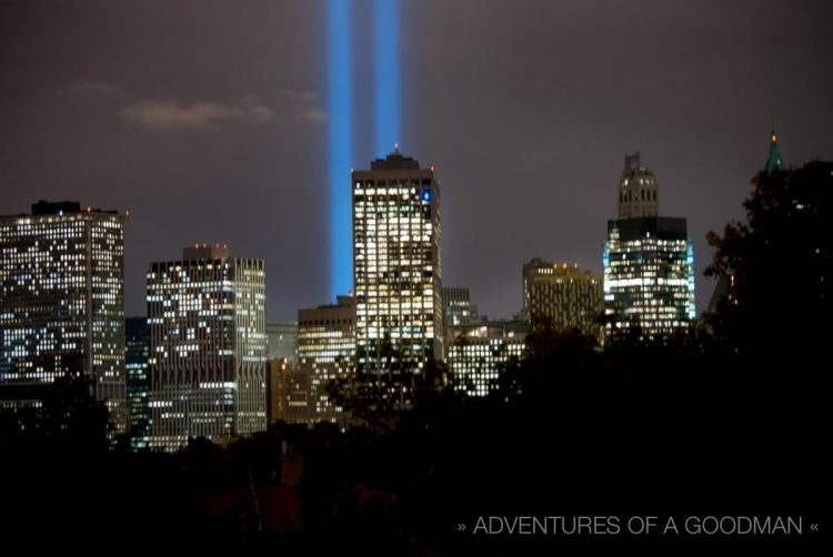 The September 11, 2008, Tribute in Lights as seen from Brooklyn, New York.