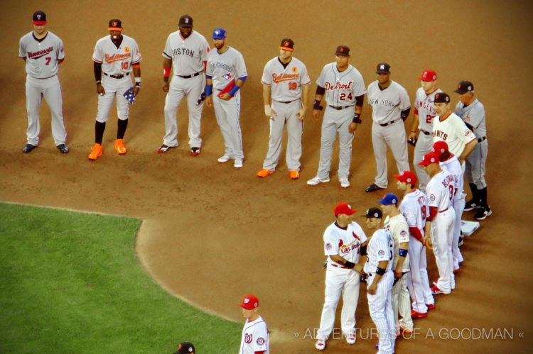 Introducing the NL Starting Lineup during the 2013 MLB All Star Game at Citi Field