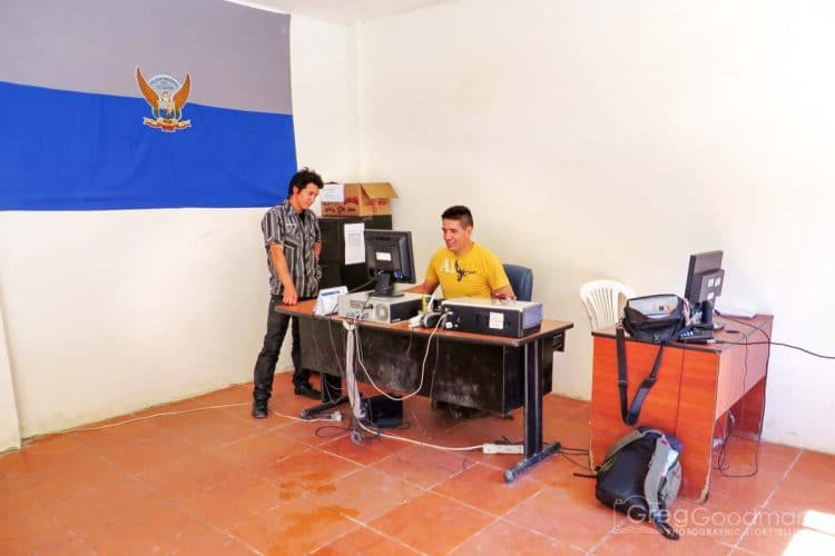 The migration officer used this computer to enter our information into the nationwide system. Yet, when we left a month later, the Ecuadorian government had no record of us.