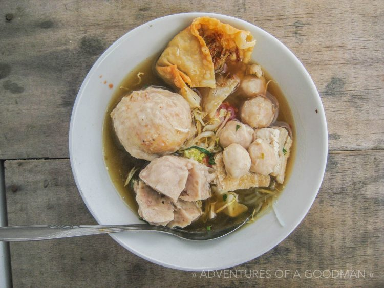 Bakso - chicken ball soup with noodles and sometimes other meats