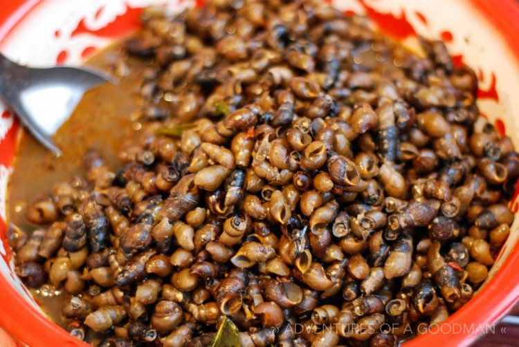 Snails for sale in the Luang Prabang night market in Laos