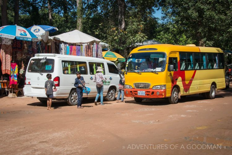Kids rush up to every tour bus that stops in Angkor, Cambodia