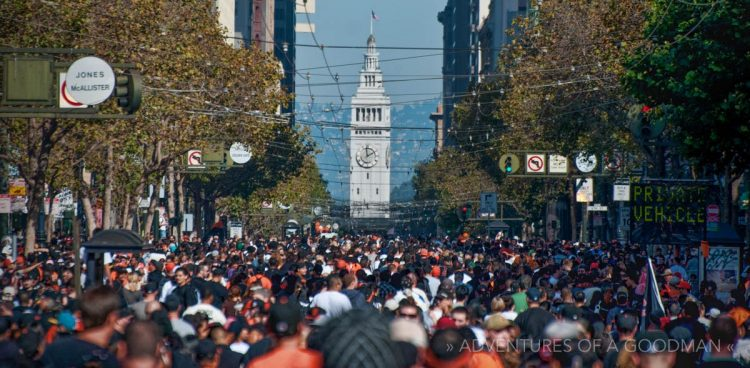Crowds celebrating the San Francisco Giants World Series Victory