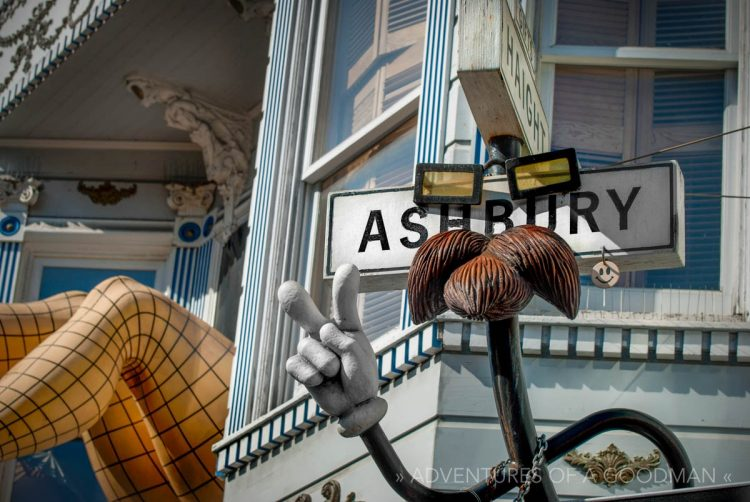 One of the most photographed spots in Haight-Ashbury is actually a sign for a souvenir shop