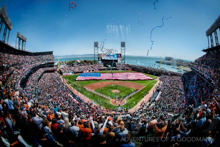 The giant American flag in centerfield during the San Francisco Giants 2010 home opener was the first of four displayed on the field during their World Championship season