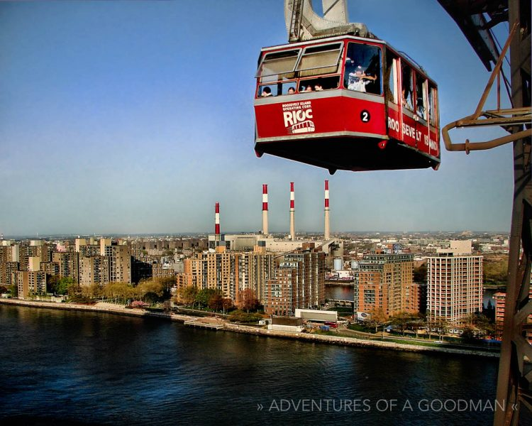 The Tram soars above Roosevelt Island, in the middle of the East River in NYC