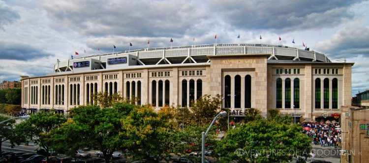 A panorama of New Yankee Stadium before a Red Sox game in 2009 - the stadium's first year