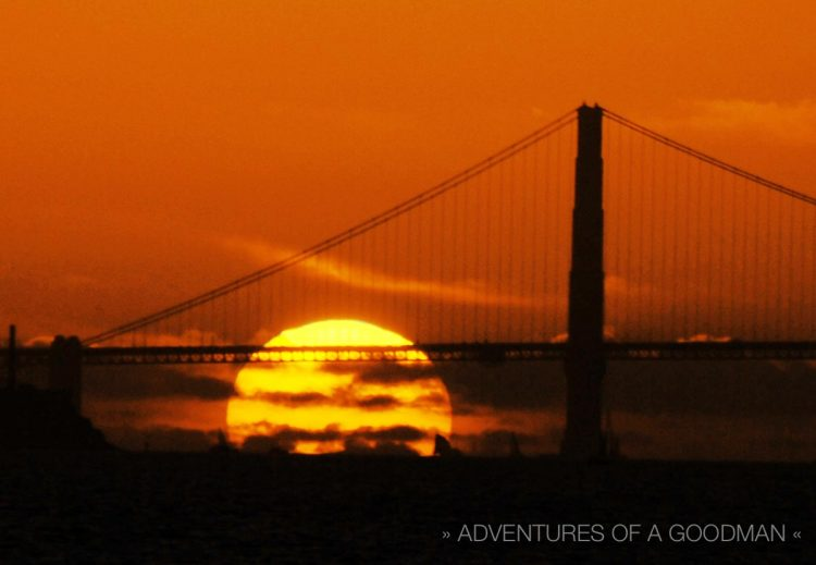 Sunset behind the Golden Gate Bridge and San Francisco, as seen from the Berkeley Yacht Club