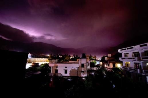 Rishikesh at Night During a Lightning Storm