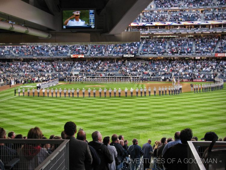 Players and soldiers lined up before the first ever playoff game at new Yankee Stadium -- ALDS Game 1 v Twins - October 7, 2009