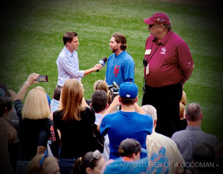 Kevin Burkhardt interviews RA Dickey after winning his 20th game on September 27, 2012 at Citi Field in Queens, New York