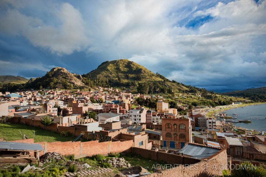 Copacabana, Bolivia, is surrounded by mountains and Lake Titicaca.