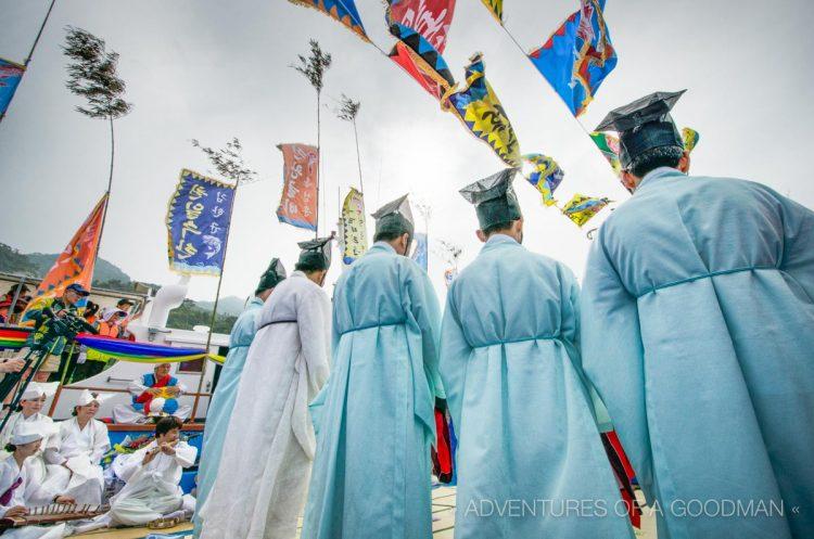 Shaman holy men line up during a Jae Sa ceremony