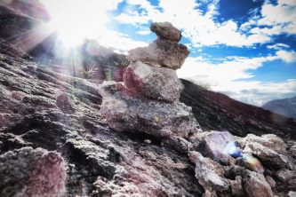 Stacks of rocks are often used as an offering to the Apu gods of the Peruvian mountains.
