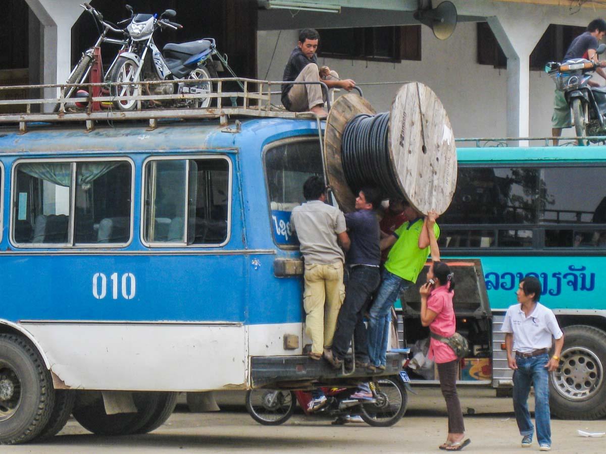 Just another day at a bus terminal in Laos