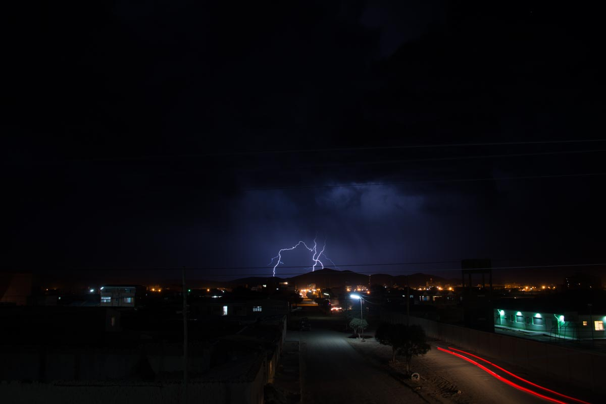 A lightning storm over the town of Uyuni, Bolivia