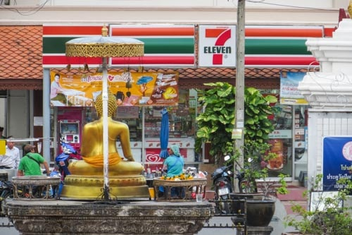 A 7-Eleven located just outside a monastery in Chiang Mai, Thailand