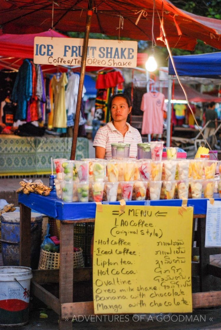 The fruit shake lady in the Louang Phabang night market