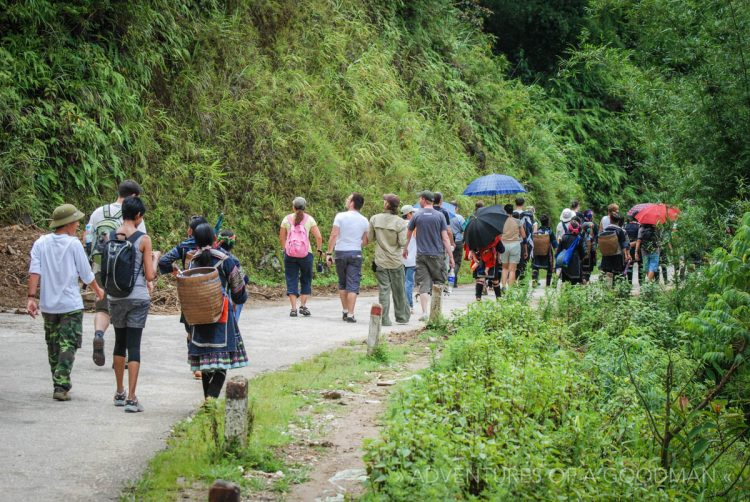The reality of a Sapa tour — large groups and lots of locals.