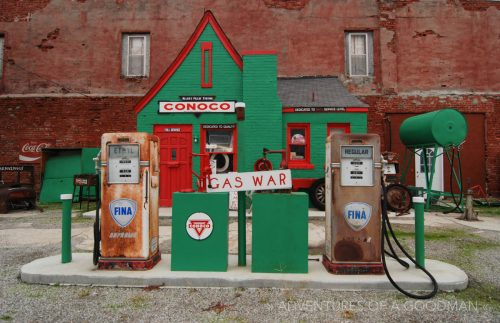 A rebuilt Conoco gas station alongside Route 66 in Kansas