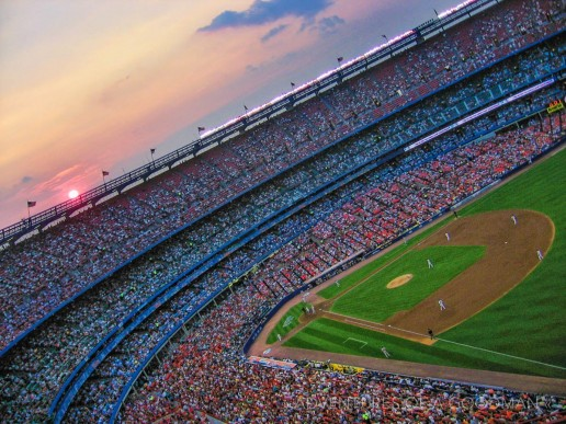 Sunset over Shea Stadium in 2008