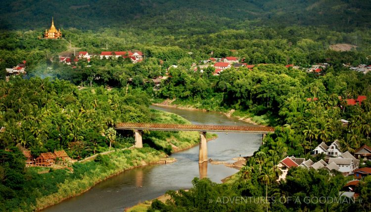 The town of Louang Prabang is surrounded by lush greenery and all-too-many signs of construction