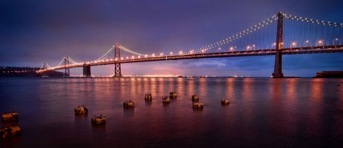 Bay Bridge San Francisco California USA Blue Hour