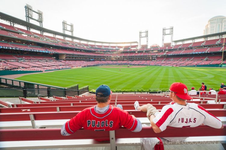 St Louis Cardinals fans hang out in the centerfield bleachers of Busch Stadium during batting practice