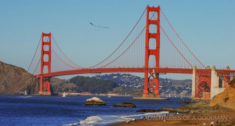 Baker Beach is a fantastic place to spend a (rare) warm day in San Francisco, while gazing out at the Golden Gate Bridge