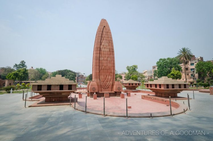 The Jallianwala Bagh memorial is located a short walk from the Golden Temple in Amritsar, India