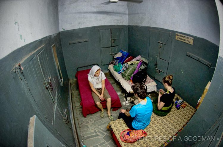Carrie, Lauren and I sit in our little room in the back of the Golden Temple free pilgrim's lodge