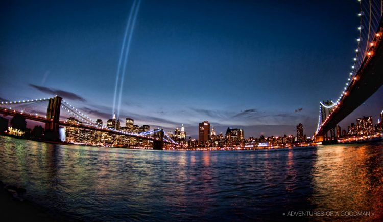 Every year on September 11, twin towers of light are sent into the heavens from downtown Manhattan to commemorate the 9/11 terrorist attacks on the World Trade Center