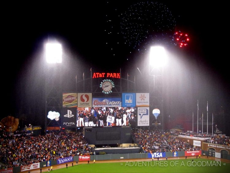 Fireworks go off to celebrate the San Francisco Giants' Game 7 victory in the NLCS