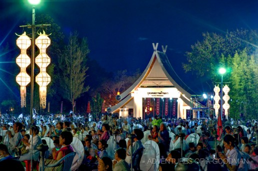 As the sun set, the crowd waits in anticipation for the mass lantern launch