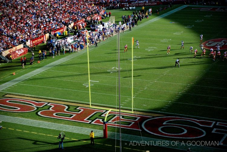 A closeup of the 49ers endzone at Candlestick Park in San Francisco, California