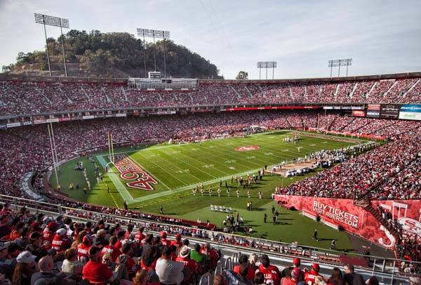 The San Francisco 49ers play a game of football at Candlestick park on November 13, 2011