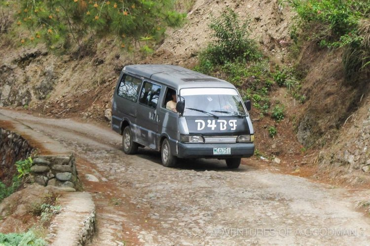Our rickety private van for the drive from Sagada to Banaue