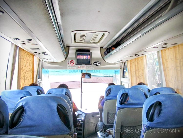 The inside of a deluxe bus in the Philippines